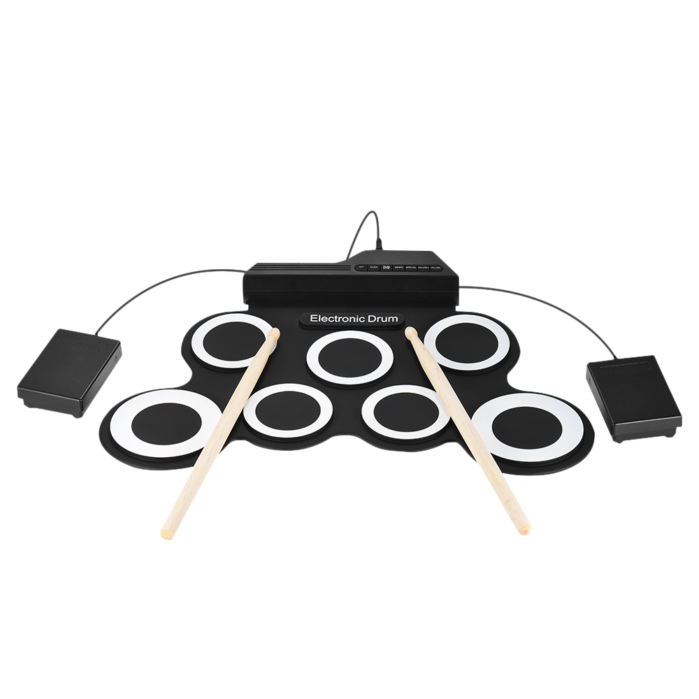 Compact Size Portable Digital Electronic Drum Set Kit 7 Silicon Drum Pads USB Power for Practice Beginners/Kids