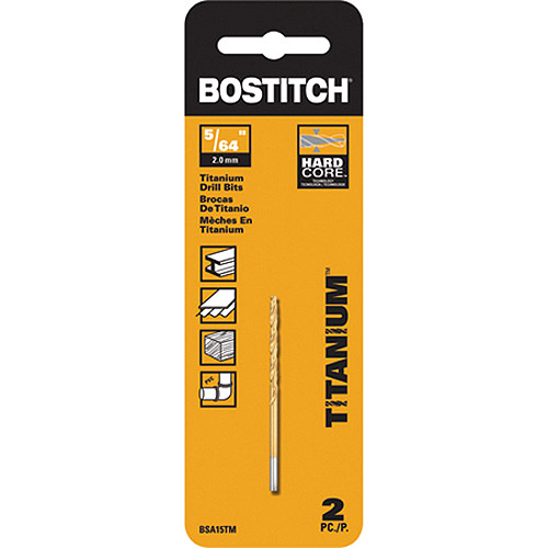 """Bostitch 5 64"""" Titanium Speed Tip Drill Bit, 2-Pack, BSA15TM by Stanley"""