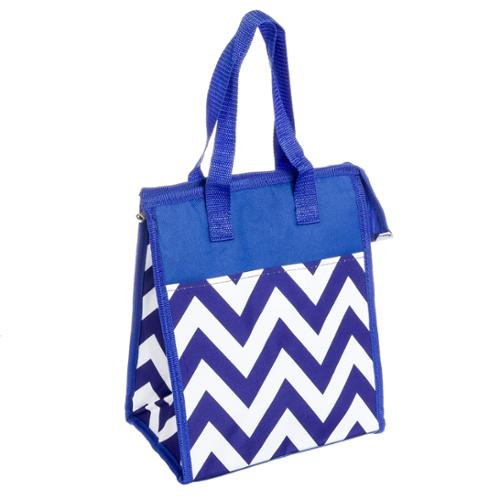 Women Blue & White Chevron Nylon Insulated Hot Cold Lunch Tote Bag Handbag Purse