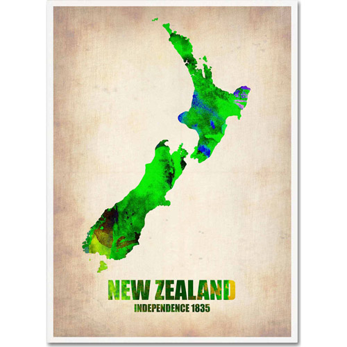 "Trademark Fine Art ""New Zealand Watercolor Map"" Canvas Art by Naxart"