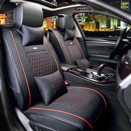 11Pcs/set 5-Seats Universal Car Seat PU Leather Full Surround Front Rear Cushion+ Armrest Cover+ 4 Pillows Black & Red