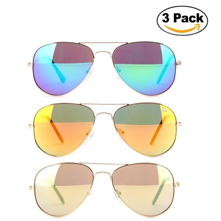 Newbee Fashion - 3 Pack Classic Aviator Sunglasses Flash Full Mirror lenses Metal Frame for Men Women UV Protection