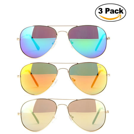 Newbee Fashion - 3 Pack Classic Aviator Sunglasses Flash Full Mirror lenses Metal Frame for Men Women UV