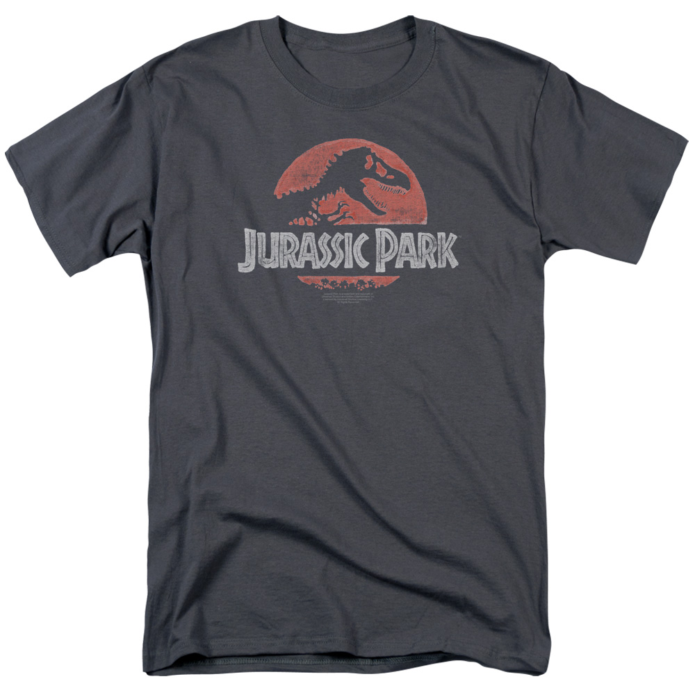 Jurassic Park/Faded Logo S/S Adult 18/1   Charcoal     Uni492