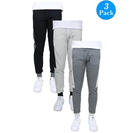 Men's Slim-Fit French Terry Jogger with Contrast Side Stripe (3-Pack) Woven Contrast Side Stripes