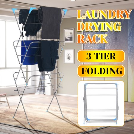 3-Tier Folding Clothes Drying Airer Rack Indoor Outdoor Laundry Dryer Concertina - image 12 de 12