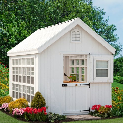 Little Cottage 8 x 16 ft. Colonial Gable Greenhouse with Optional Floor Kit