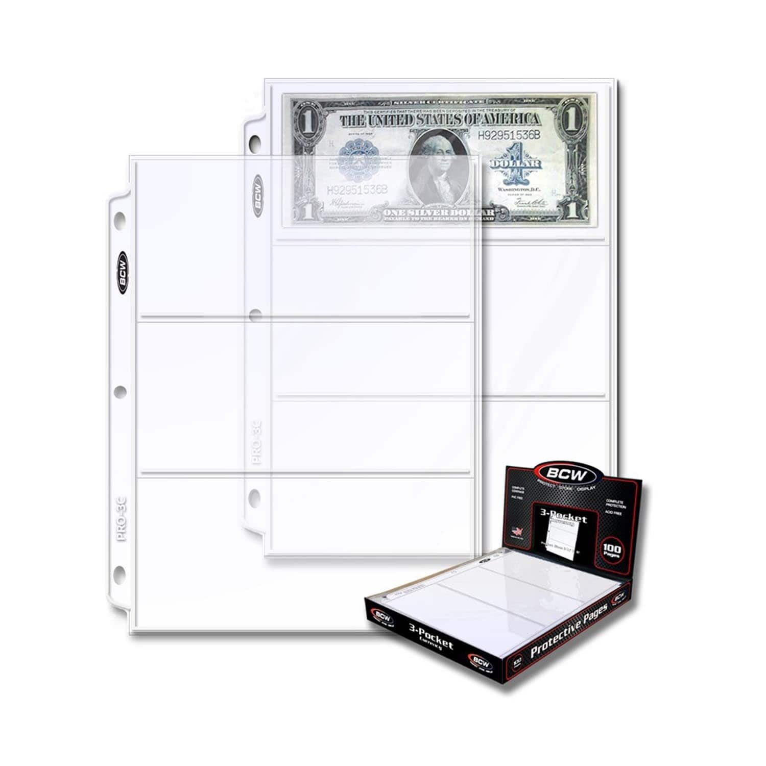 Bcw 3 Pocket Currency And Coupon Size Binder Pages 100 Count Box Walmart Com Walmart Com