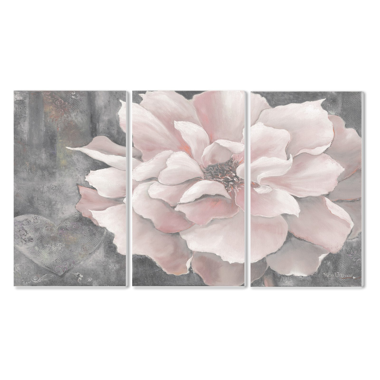 The Stupell Home Decor Collection Pastel Pink Peony On Gray Wall Plaque - Set of 3