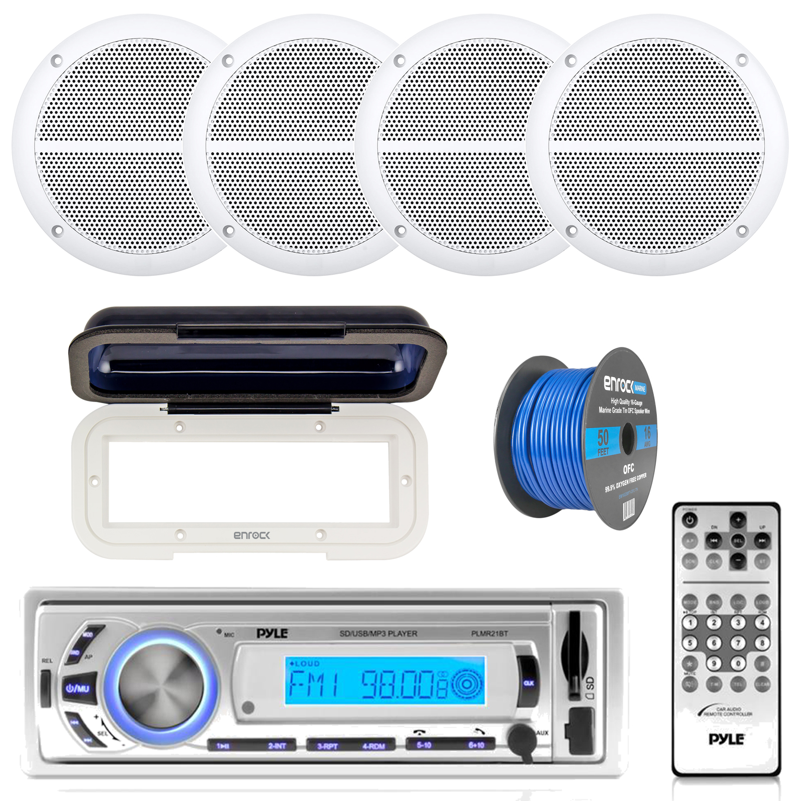 "Pyle PLMR21BT Marine Boat USB/SD/MP3 Bluetooth Stereo Receiver With Waterproof Cover Bundle Combo With 4x Enrock 6.5"" Inch Dual-Cone White Upgarde Audio Coaxial Speakers + Enrock 50Ft 16g Speaker Wire"