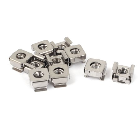 Unique Bargains 10 Pcs M6 x 1mm Pitch 304 Stainless Steel Cage Nuts for Sever Shelves Cabinet