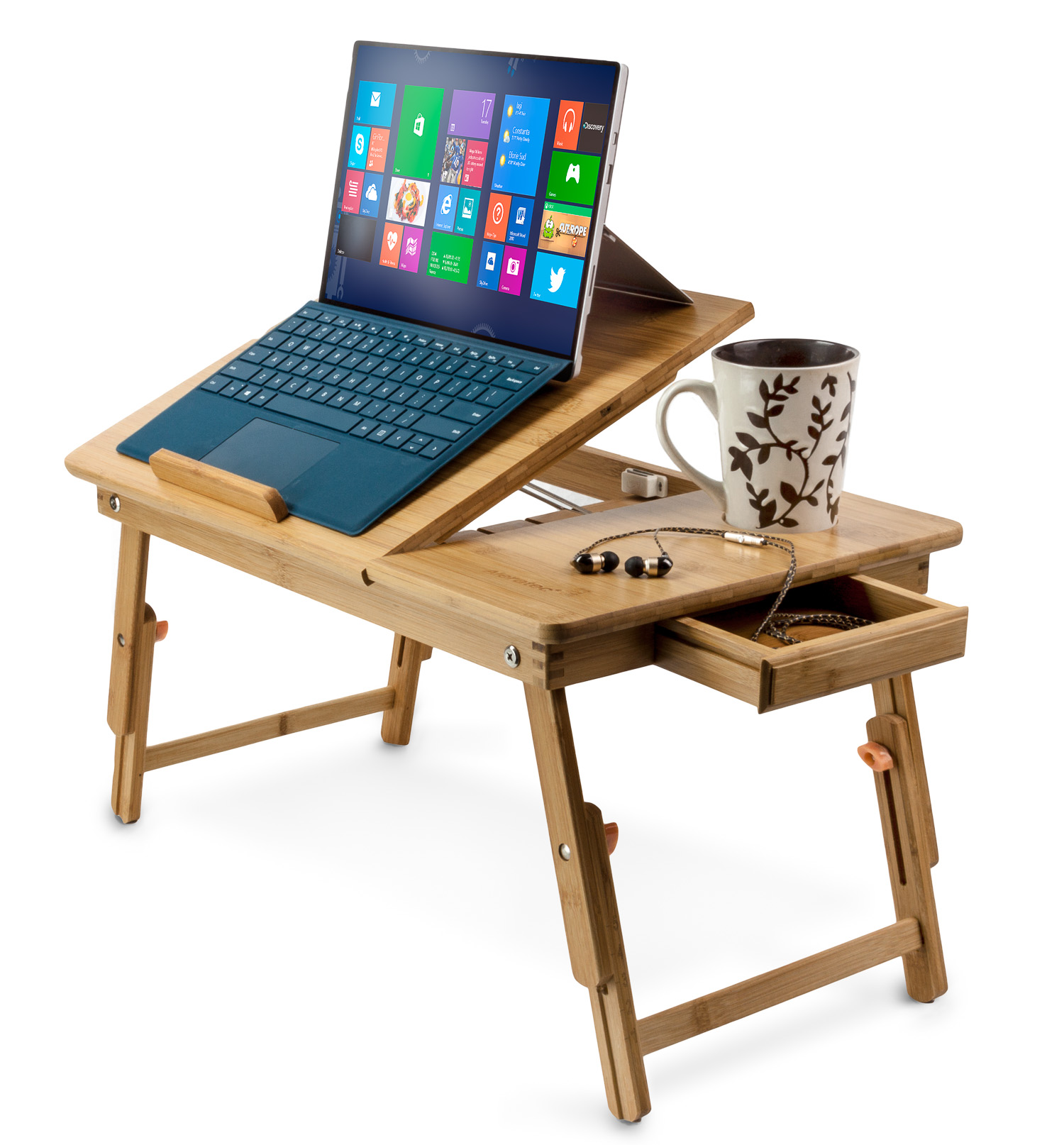 Aleratec Bamboo Lap Desk   Laptop Stand for Devices Up to 15 Inches by Aleratec