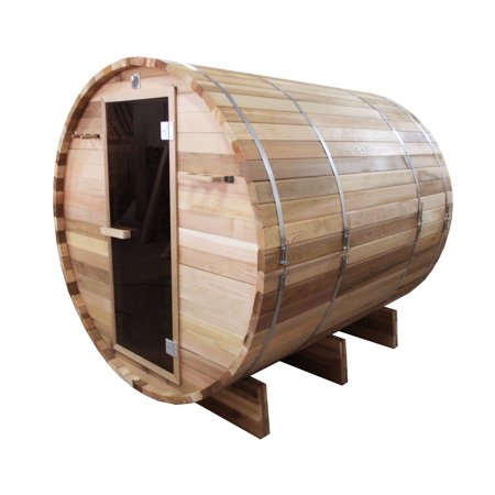 ALEKO SB6CEDAR Outdoor or Indoor Rustic Western Red Cedar Wet Dry Barrel Sauna - 6kW ETL Certified Heater - 6 person Cedar Barrel Sauna