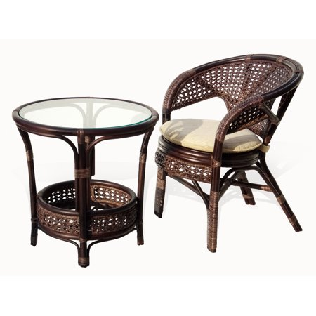 Surprising Pelangi Lounge Set Of Round Coffee Table And Natural Rattan Wicker Chair Handmade Design Dark Brown Cjindustries Chair Design For Home Cjindustriesco