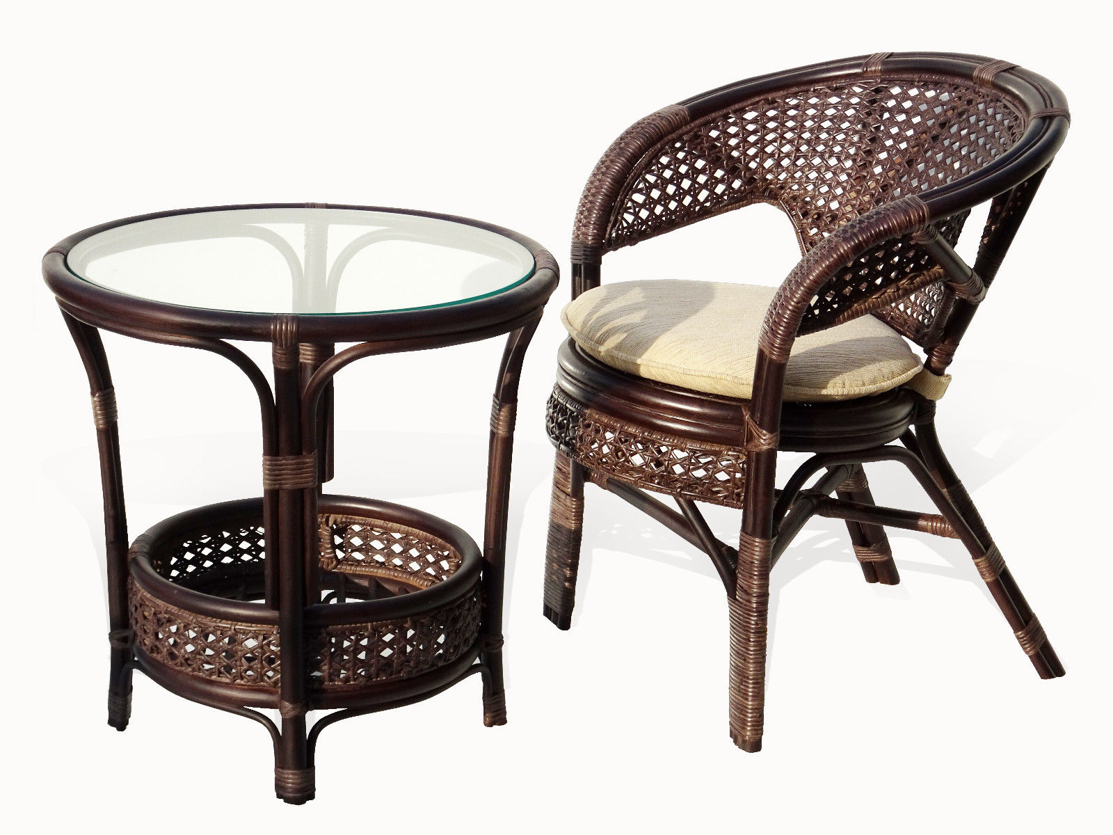 Pelangi Lounge Set Of Round Coffee Table And Natural Rattan Wicker Chair  Handmade Design, Dark Brown   Walmart.com