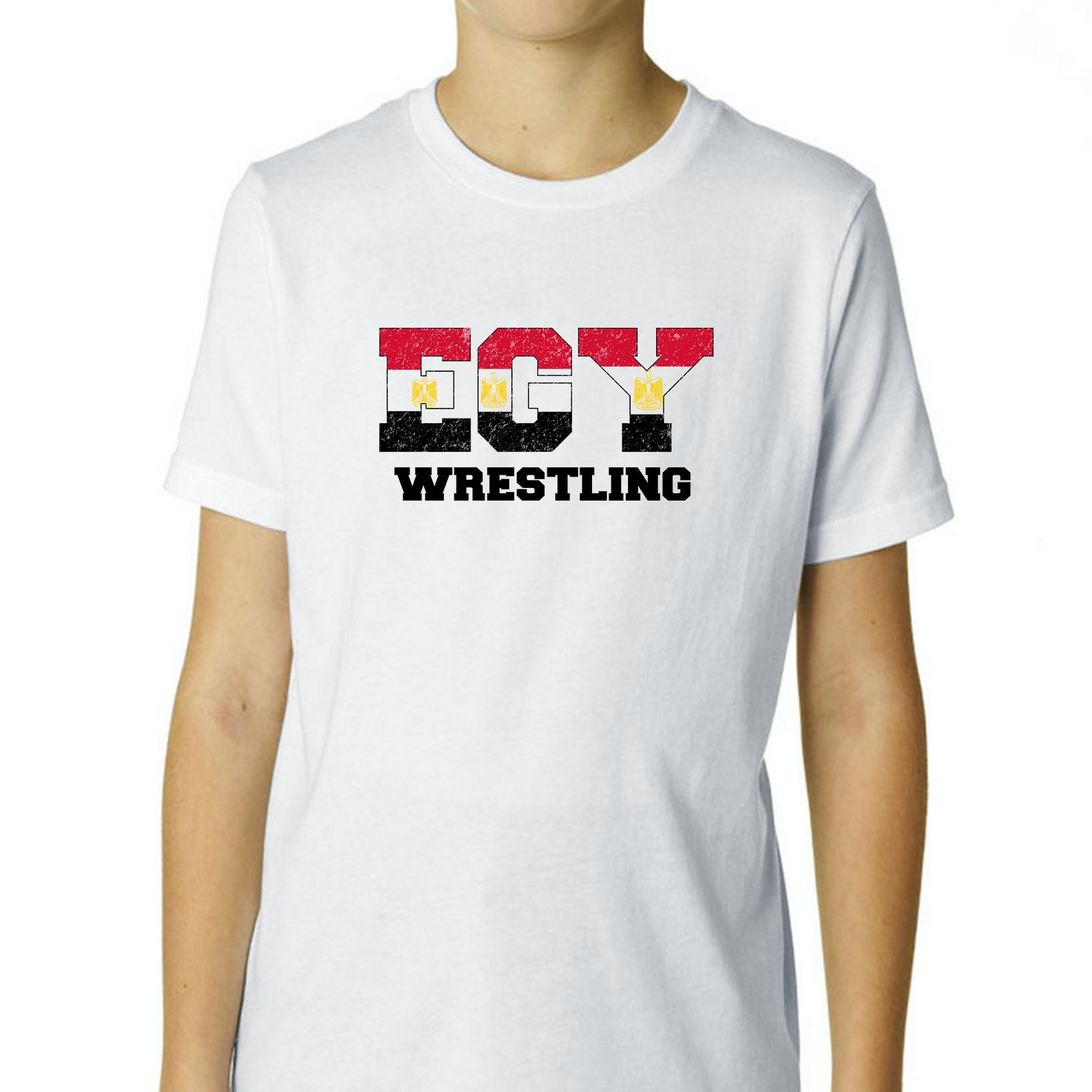 Egypt Wrestling Olympic Games Rio Flag Boy's Cotton Youth T-Shirt by Hollywood Thread
