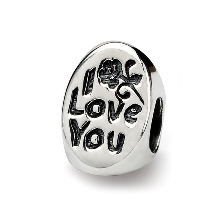 Solid 925 Sterling Silver Heart Reflections #1 Mom Trilogy Oval Bead (7.3mm x 10mm)