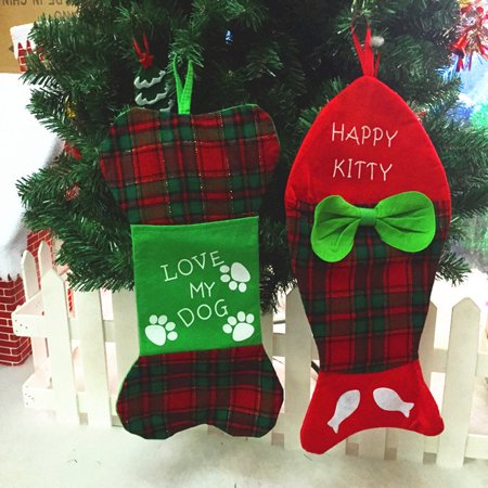 Personalized Christmas Stocking Fish Bone Gift Bags Tree Hanging Ornament Decor for Dog Cat Pet Christmas ()
