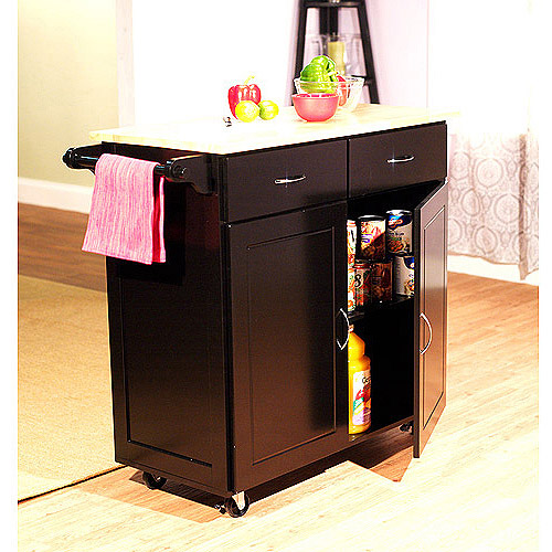 large kitchen cart with wood top, multiple finishes - walmart