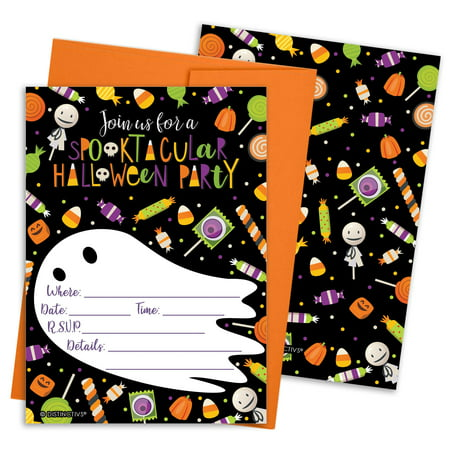 Halloween Party Invitation Cards Set 12ct - Kids Halloween Party Invites Supplies - 12 Count Invitations with Envelopes
