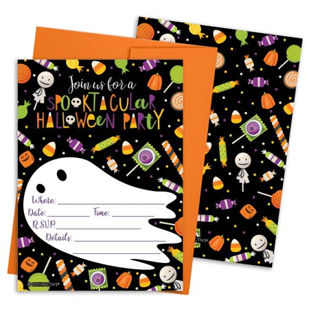 Halloween Party Invitation Cards Set 12ct - Kids Halloween Party Invites Supplies - 12 Count Invitations with Envelopes - Invitation Wording Ideas For Halloween Party