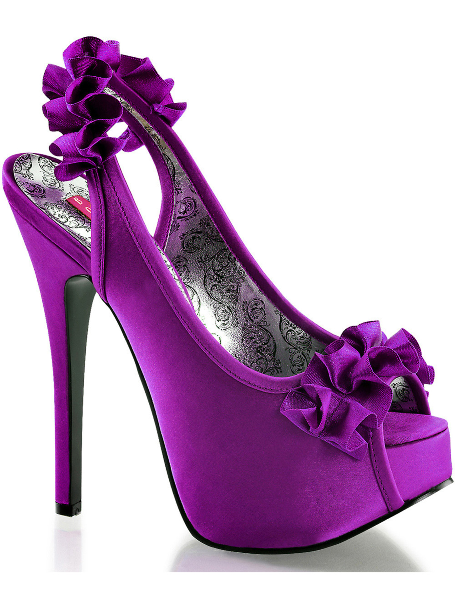 Womens Purple Satin Slingback Shoes with Ruffle Trim and 5.75 Inch Heels