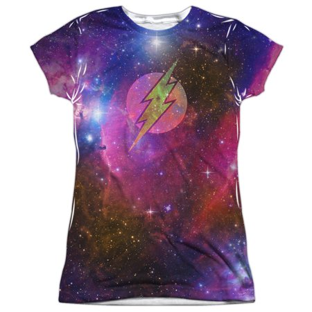 Justice League Flash Galaxy (Front Back Print) Juniors Sublimation Shirt (Flash Shirts For Girls)