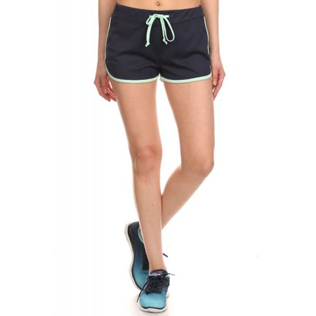 Active Fitted Jersey Trim Adjustable Drawstring Mini Shorts Navy L