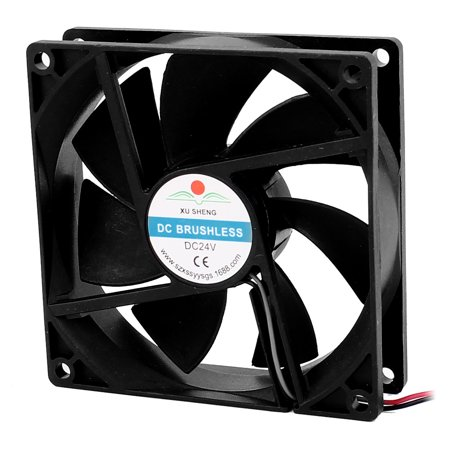 DC 24V 90mmx90mmx25mm 7 Vanes PC CPU Computer Cooling Fan w Metal Finger Guard