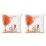 Autumn Throw Pillow Cushion Cover Pack of 2, Watercolor Fall Season Landscape with Leaves Flying in Breeze Bicycle, Zippered Double-Side Digital Print, 4 Sizes, Orange Brown and White, by Ambesonne