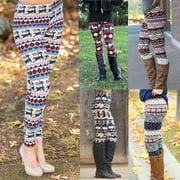 Women Stretchy Xmas Deer Print Leggings Casual Skinny Leggings Slim Pencil Long Pants Trousers