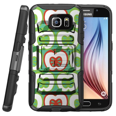 Samsung Galaxy S7 G930 Miniturtle® Clip Armor Dual Layer Case Rugged Exterior with Built in Kickstand + Holster - Green Red