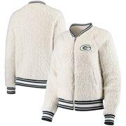 Green Bay Packers New Era Women's Athletic Sherpa Full-Zip Jacket - Cream