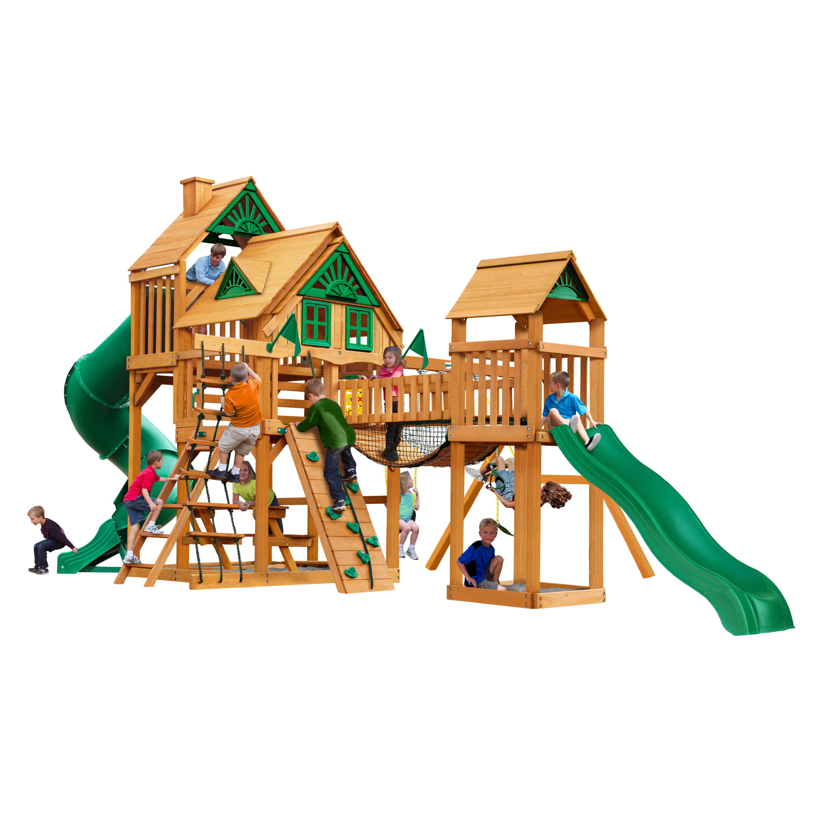 Gorilla Playsets Treasure Trove Treehouse Wooden Swing Set with 2 Belt Swings, Clatter Bridge and Tower, and 2... by Gorilla Playsets