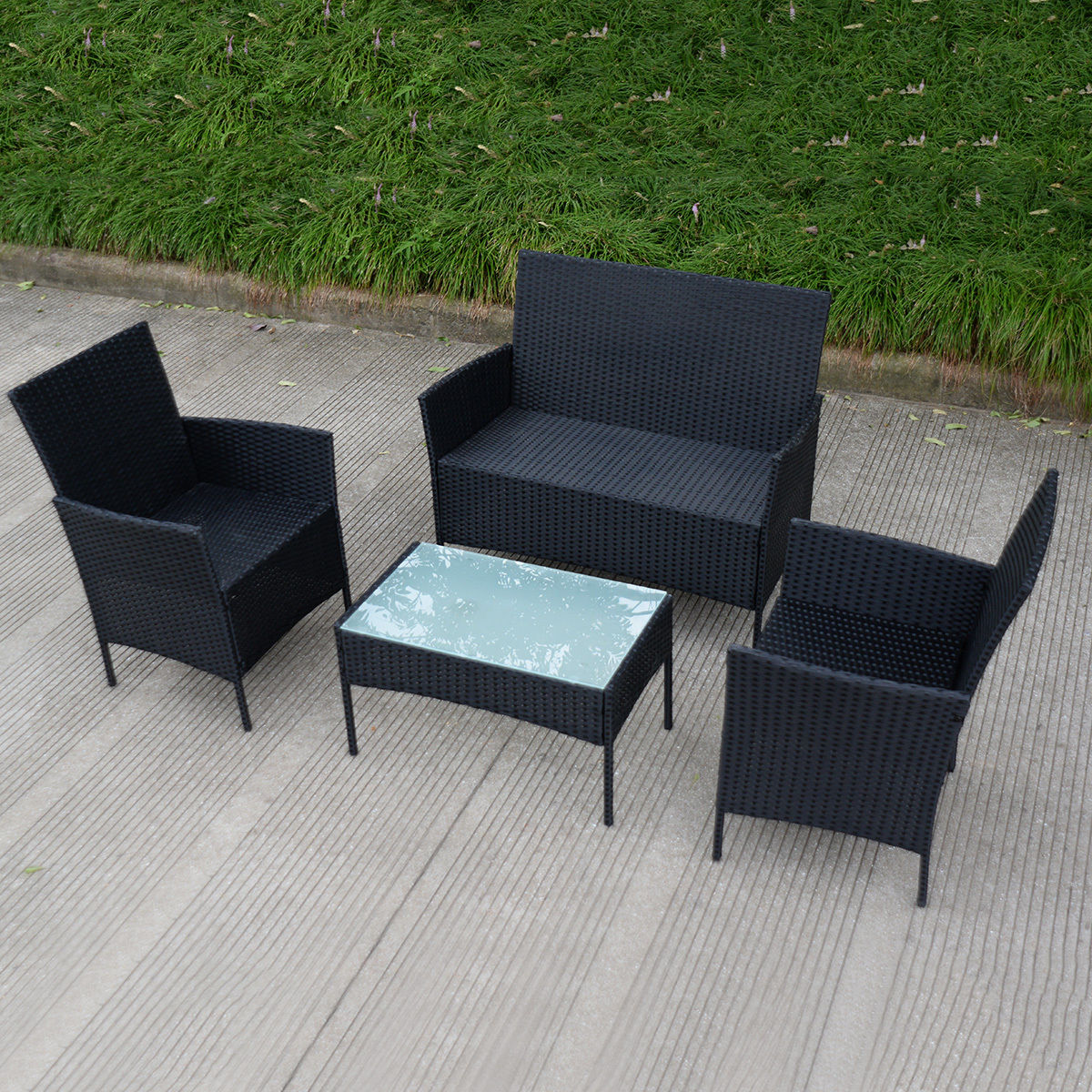 Costway 4 PC Outdoor Rattan Furniture Set Loveseat Sofa Cushioned Patio  Garden Steel Image 4 Of