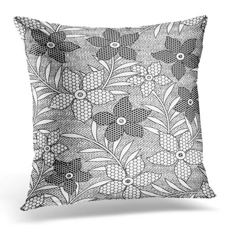 ECCOT Black Abstract Floral Lace Pattern White Beautiful Pillowcase Pillow Cover Cushion Case 20x20 inch