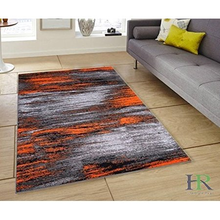 Electric Orange/Grey/Silver/Black/Abstract Contemporary Modern Design Mixed Brush Pattern Colors Area Rug - Mix Silver Collection