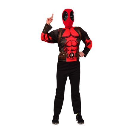 Deluxe Deadpool Mask and Costume Top Set ? Kids Costume - Size 34-36
