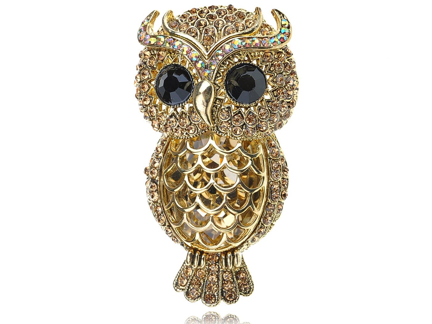 Stunning Captivating Topaz Crystal Rhinestone Big Eyed Owl Bird Pin Brooch by