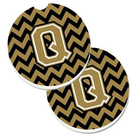 Letter Q Chevron Black & Gold Set of 2 Cup Holder Car Coaster - image 1 de 1