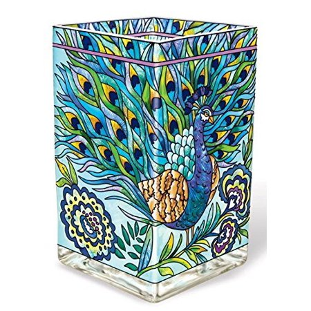 Amia 42018 Hand Painted Glass Vase/Candle Votive, 6-Inch, Peacock