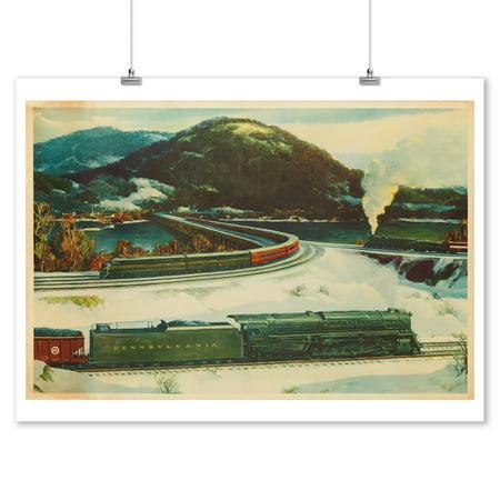 Crossroads of Commerce (Pensylvania Railroad) Vintage Poster (artist: Teller) USA c. 1950 (9x12 Art Print, Wall Decor Travel Poster) (1950 Decor)
