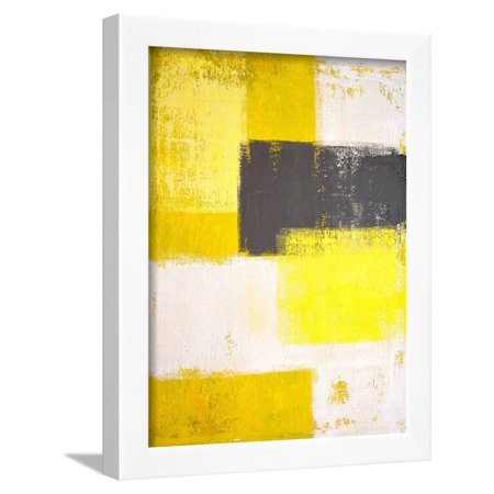 Yellow And Grey Abstract Art Painting Framed Print Wall By T30 Gallery