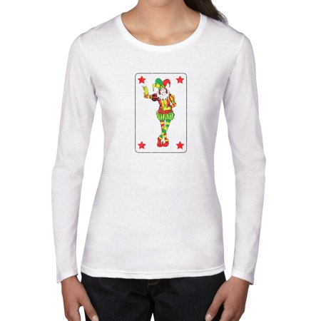 Joker - Big Playing Card - with Red Poker Stars Women's Long Sleeve T-Shirt