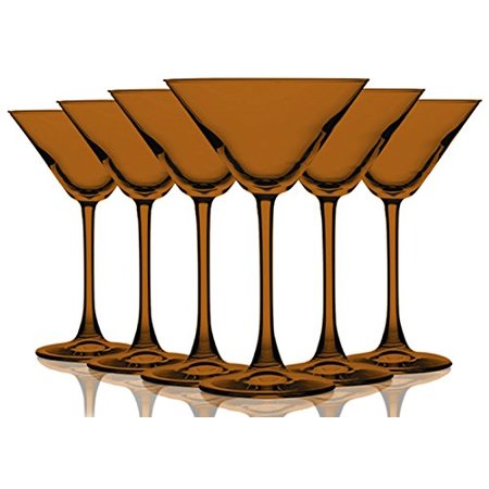 Orange Colored Martini/Cocktail Glasses Fully Colored - 10 oz. Set of 6- Additional Vibrant Colors Available by TableTop King ](Orange Martini Glasses)