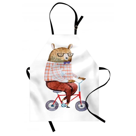 Funny Apron Cartoon Bear Dressed up in Hipster Clothes Riding a Bike Watercolor Urban Character, Unisex Kitchen Bib Apron with Adjustable Neck for Cooking Baking Gardening, Multicolor, by Ambesonne