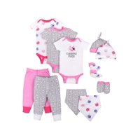 Little Star Organic Baby Girl Baby Shower Essentials Gift Set, 11-Piece