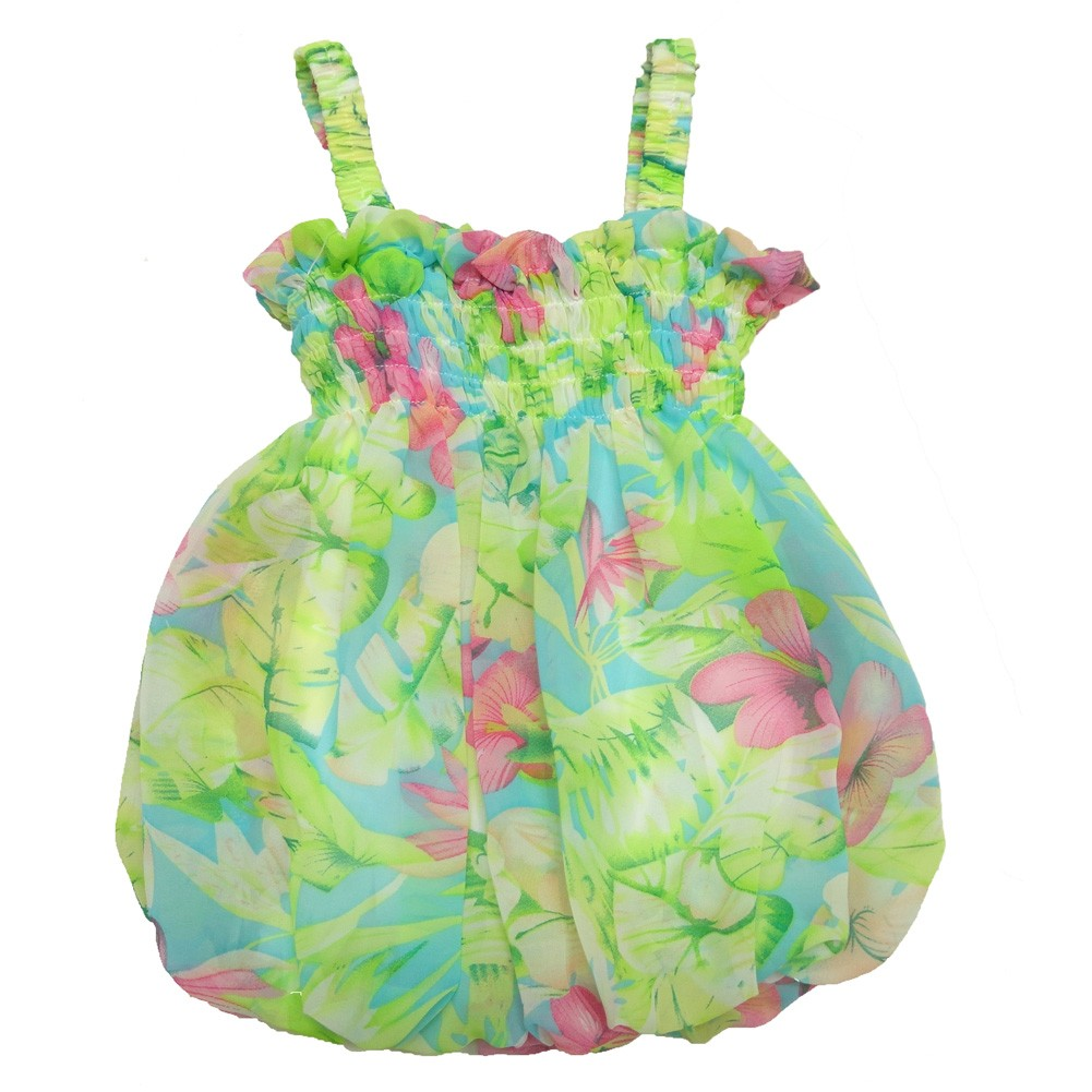 Baby Girls Green Pastel Floral Print Strap Bubble Chiffon Dress 6-24M