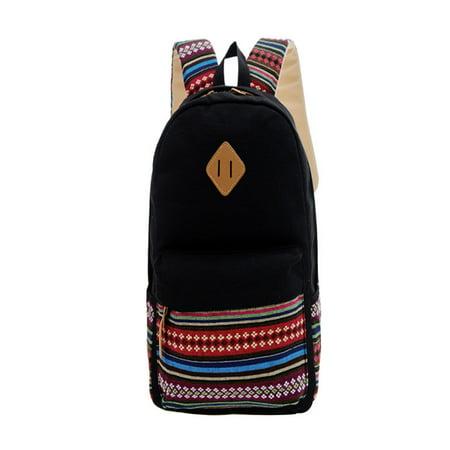 f8b51ea6164d New Womens Girls Canvas Vintage Backpack Rucksack College Shoulder School  Bag BK - Walmart.com