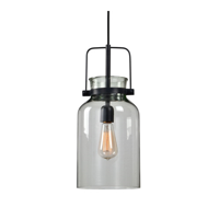 Mini Pendants 1 Light With Textured Black Fixture Finish Iron Glass 8 inch 100 Watts